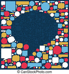 Social media icons texture in talk bubble shape composition over blue background. Vector file available.