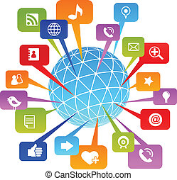 Social network world with media icons