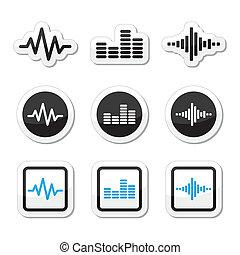 Soundwave music vector icons set