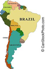 South America map with countries names vector