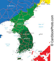 Highly detailed vector map of Korean peninsula with administrative regions, main cities and roads.