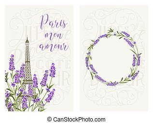Souvenir card with eiffel tower. Eiffel tower with blooming spring flowers over gray background.