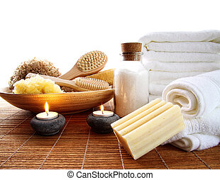 Spa accessories with towels