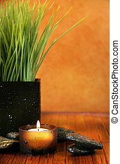 Spa setting with candle