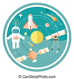 Space and astronomy icons set with telescope globe rocket astronaut. Concept in flat design cartoon style on stylish background