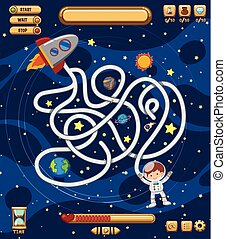 Space maze puzzle game template