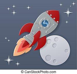 Space Rocket Ship Cartoon Paper Craft Moon Scene
