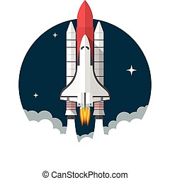 Space Shuttle, Flat design, vector illustration, isolated on white background