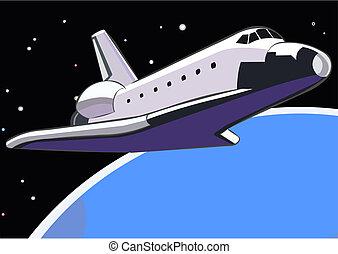 Space shuttle in Earths orbit. Vector illustration.