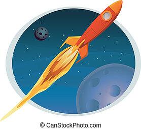 Spaceship Flying Through Space Banner
