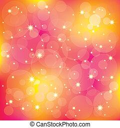 Sparkling stars light on colorful background