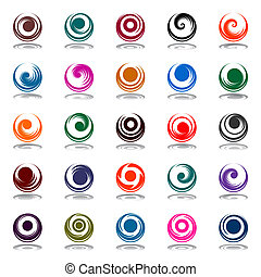 Spiral movement and rotation in circle shape. Design elements set. Vector art.