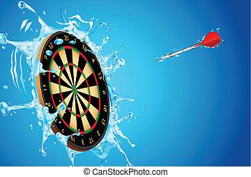 illustration of dart board with arrow in splashing water