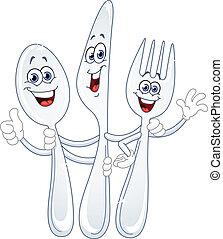 Spoon knife and fork cartoon