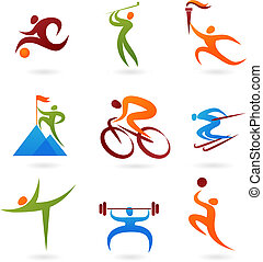 Set of colorful sport icons