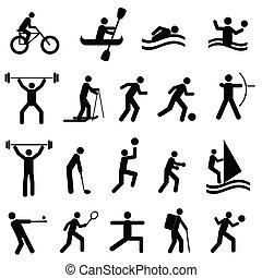 Sports icon set in black