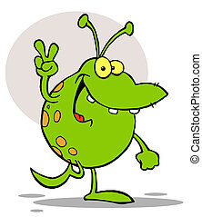Spotted Green Alien Smiling And Gesturing The Peace Sign