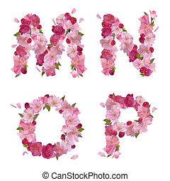 Spring alphabet with cherry flowers MNOP