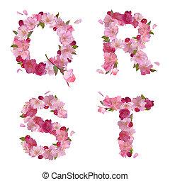 Spring alphabet with cherry flowers QRST