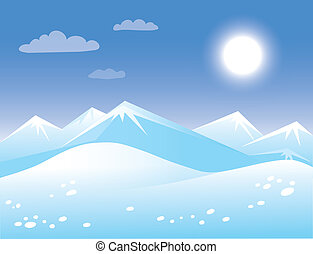 Spring arctic sunny landscape. Template background for greeting card.