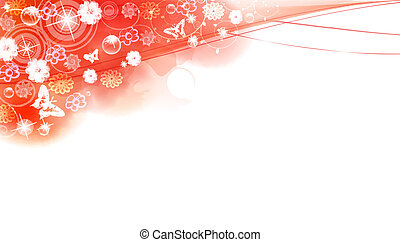 Spring floral card with rain