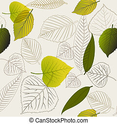 Spring leafs (with outlines) abstract seamless pattern