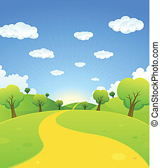 Illustration of a cartoon summer or spring season country landscape, with road trail leading towards horizon