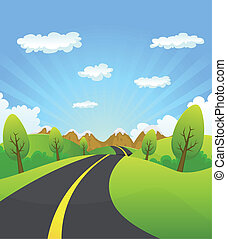 Illustration of a cartoon summer or spring country road travelling to mountains landscape, for vacations, travel and seasonal holidays background