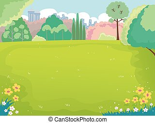 Spring Picnic Field Illustration