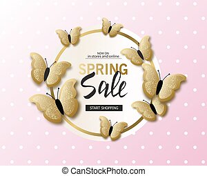 Spring sale banner background template with beautiful golden butterflies.