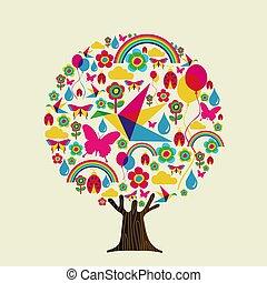 Spring season tree of colorful springtime icons