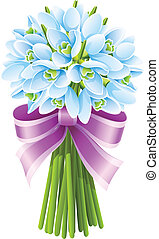 spring snowdrop flowers bouquet with pink ribbon
