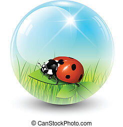 Sphere with spring inside, vector shiny ball.