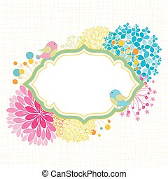 Colorful Flower Bird Garden Party Invitation