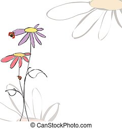 Spring summer floral with ladybirds on white background