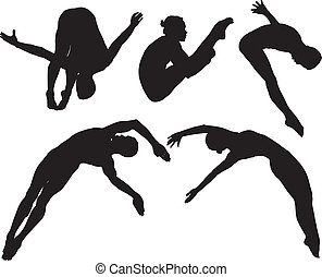 Springboard Platform Diving Silhouette on white background