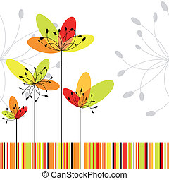 Springtime abstract flower on colorful stripe background