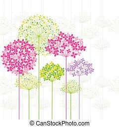 Springtime Colorful Flower on Dandelion Background