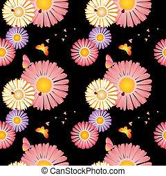 Springtime flowers butterflies ladybirds seamless pattern