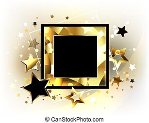 Square banner with golden stars