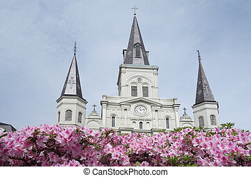 St Louis Cathedral in Jackson Square in New Orleans French Quarter