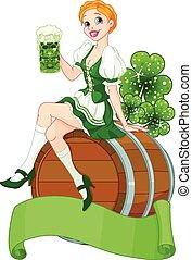 Irish girl sits on the keg and holds mug
