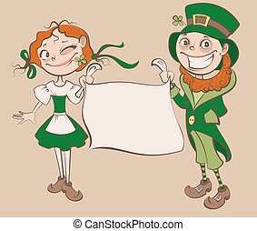 St. Patricks Day Festival. Young woman and man