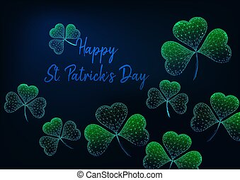 St. Patricks Day greeting card template with glowing low polygonal green shamrock leaves.