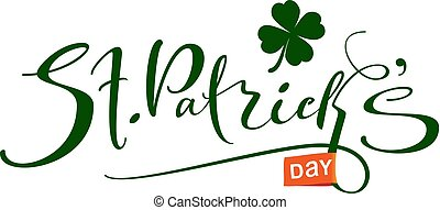 St. Patrick's Day handwritten ornate calligraphy text