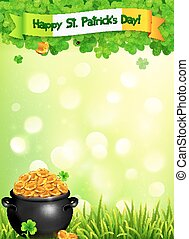 St. Patricks Day vector leaflet template with pot of gold and clovers on light green background