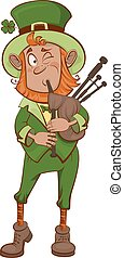 St. Patricks Day. Man musician and bagpipes
