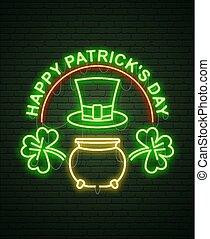 St Patricks Day Neon sign and green brick wall. Realistic sign. National holiday symbol in Ireland. Irish Shamrock. Leprechaun Pot of gold. Template night banner.