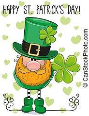 St Patricks greeting card with leprechaun
