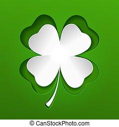 St Patricks white lucky clover leaf on green. Vector.